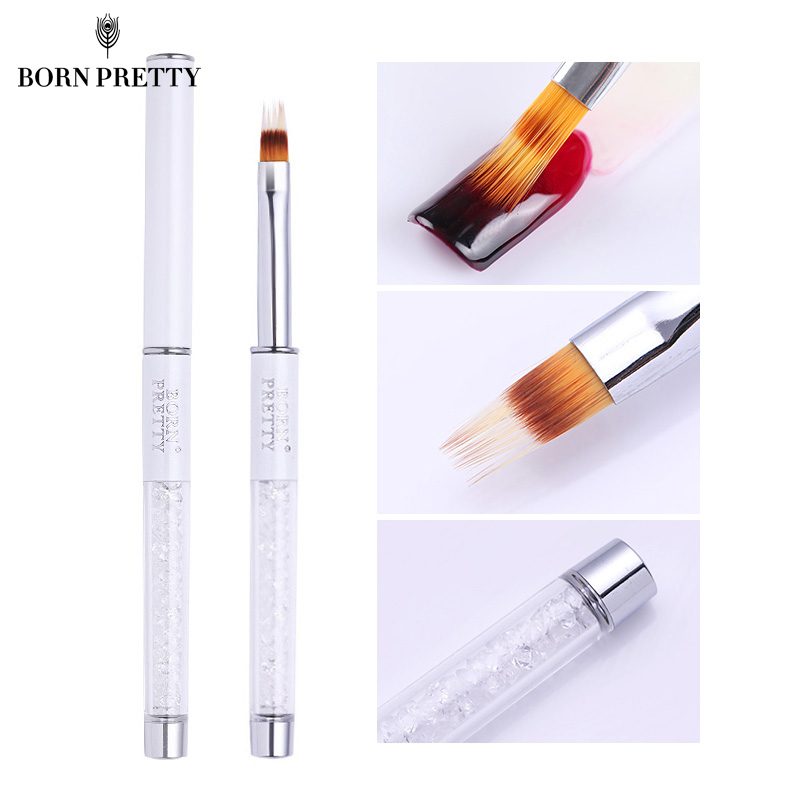 BORN PRETTY Gradient Painting Nail Brush Rhinestone Handle Drawing UV Gel Pen Manicure Nail Art Brush Tool