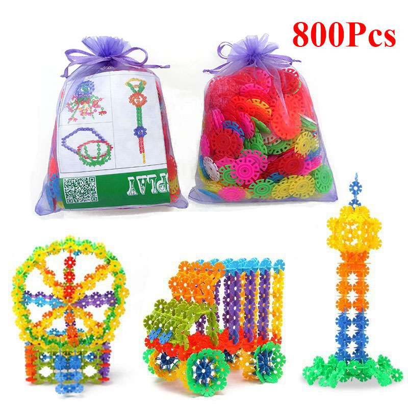800 Pcs Plastic Snowflake Building Blocks 3D Puzzle Jigsaw Building Model DIY Assembling Classic Toys Educational Toys For Kids