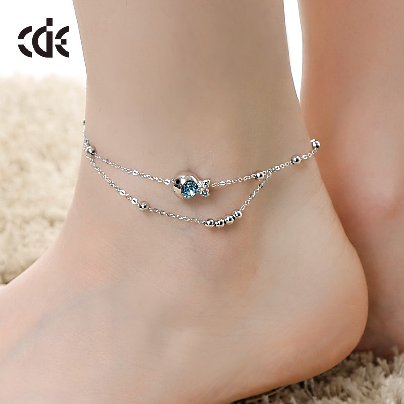bell Anklet female crystal Korean minimalist personality clown fish foot ring font b jewelry b font