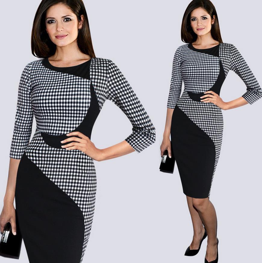 New Slim Spring Short sleeve Black white plaid Wiggle dresses Women s  Elegant Work Office Party Bodycon 40d78d5c4ddd