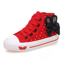 Children canvas shoes girls shoes cotton-made shoes high girls bowknot polka dot 2016 spring autumn kids casual shoes