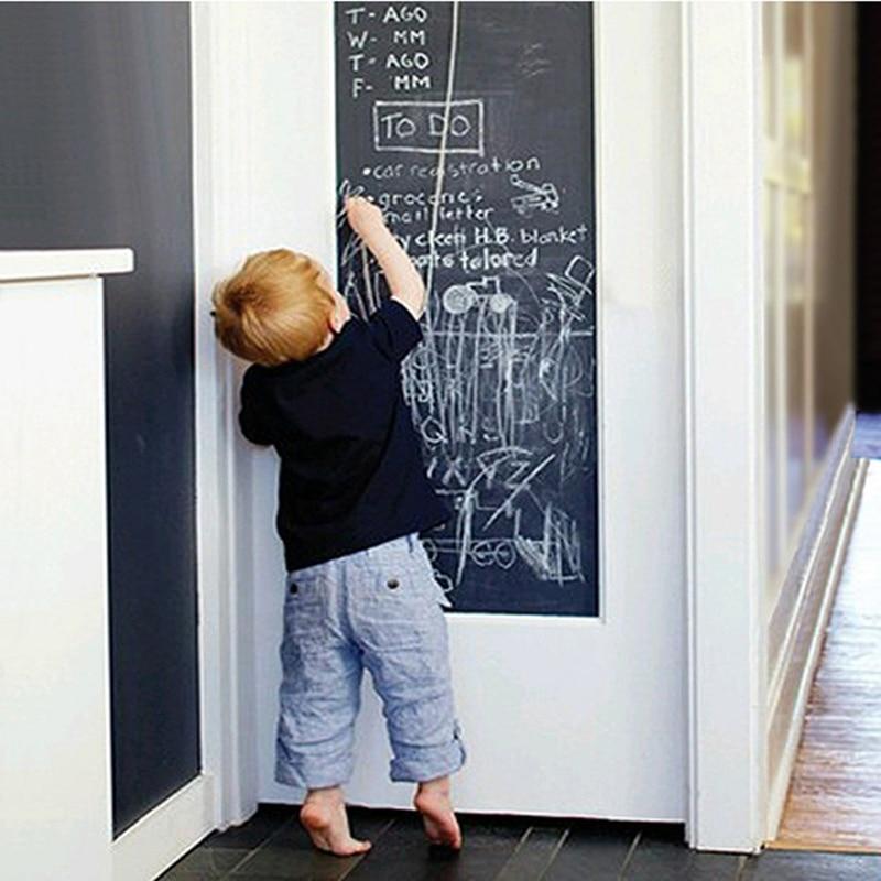 Erasable Wall Sticker Creative Chalkboard Sticker Removable Blackboard Wall Stickers Mural For Home Decal 200X45cm W/ 5 Chalks