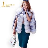 LVCHI New Brand Top Quality Real fur Fox coat import the Arctic Cross fox fur Stylish cloak new vests thicker warm stripe furs