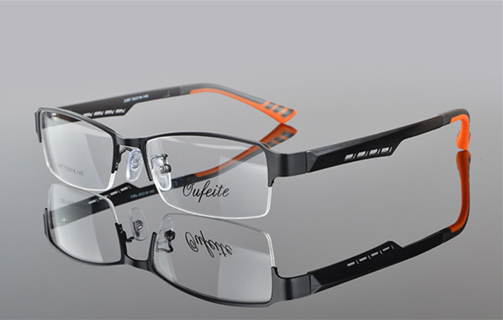 Herrglasögonramar Metall Halvkantfria glasögon Affärsglasögon - Kläder tillbehör - Foto 5