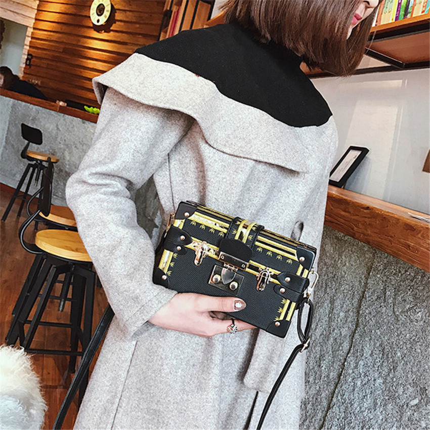 a1432c70150b TOYOOSKY Vintage Handbags Clutch Retro Women Messenger Bags Panelled Box Bag  Rivet Crossbody Shoulder Bags Small Handbag Purse-in Shoulder Bags from  Luggage ...