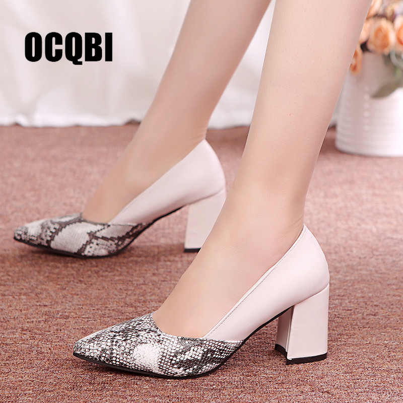 High Heel Pointed Leather Deep Mouth Single Shoes National Wind Printed Leather Women's Shoes Thick With Snake Slip On Women's