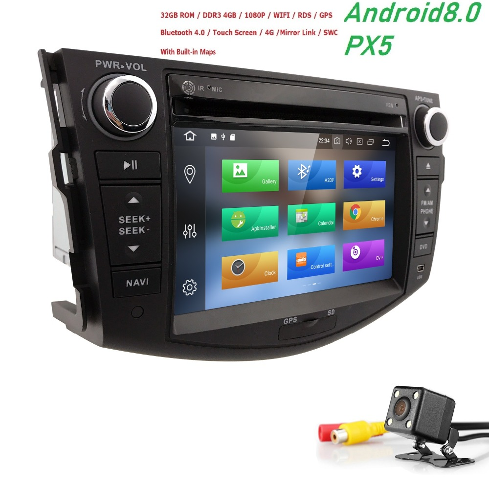 цены Octa Core 1024*600 HD Screen 2 Din Android 8.0 Car DVD for Toyota Rav 4 RAV4 Audio Video Stereo GPS Navigation Radio RDS 4G Wifi