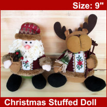2pcs  Christmas Plush Toy 9″  Claus and Deer Fun Stuffed  Xmas Decoration Gifts FREESHIPPING