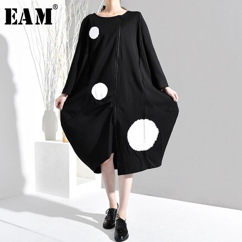 [EAM] 2019 New Spring Autumn Round Neck Long Sleeve Dot Pattern Irregular Big Size Loose Dress Women Fashion Tide JA88501