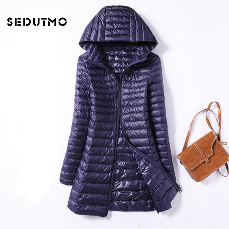 SEDUTMO Winter Ultra Light Duck Womens Down Jackets Plus Size 3XL Long Down Doat Puffer Jacket Slim Hooded Parkas ED038