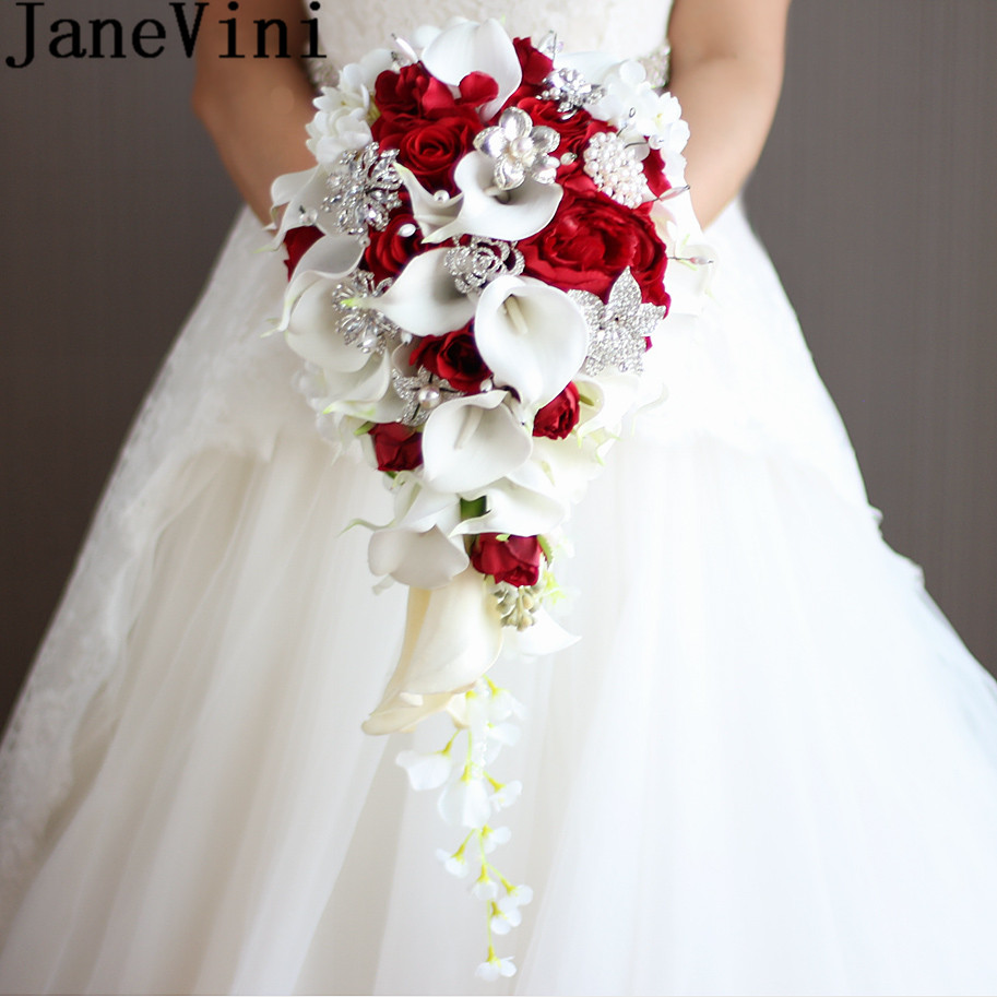 JaneVini 2018 Vintage Red Rose Bouquet With Crystal Waterfall Bridal Pearl White Wedding Bouquet Artificial Flowers
