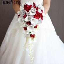 JaneVini 2018 Vintage Kırmızı Gül Buketi Ile Kristal Şelale Gelin Inci Beyaz Düğün Buket yapay çiçekler Gelin Broş