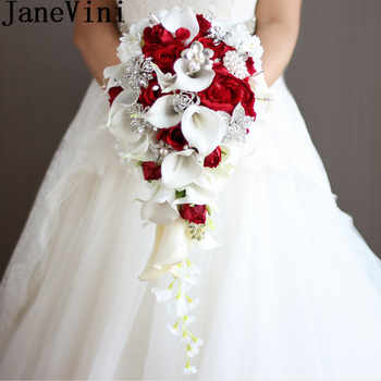 JaneVini 2018 Vintage Red Rose Bouquet With Crystal Waterfall Bridal Pearl White Wedding Bouquet Artificial Flowers Bride Brooch - Category 🛒 Weddings & Events