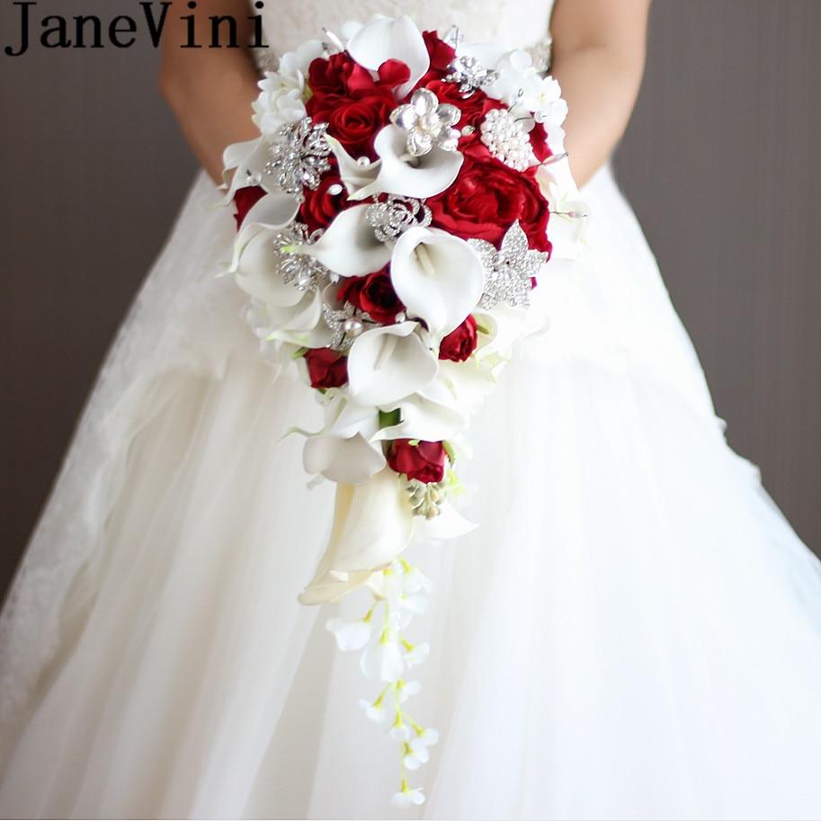 JaneVini 2018 Vintage rouge Rose Bouquet avec cristal cascade nuptiale perle blanc mariage Bouquet fleurs artificielles mariée broche
