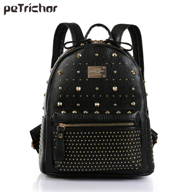 2017 Hot Black PU Leather Women Backpack with Rivet Japan Korean Style Rucksack Teenager School Travel Rock Punk Back Bag