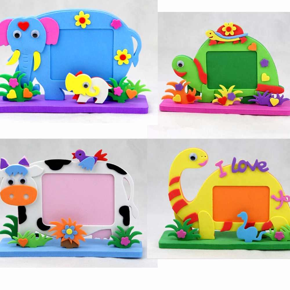 2019 New Kids DIY EVA Photo Frame Foam Craft Toy Kits Educational toys for Children Bee Owl Giraffe Dinosaur Elephant Cow Turtle