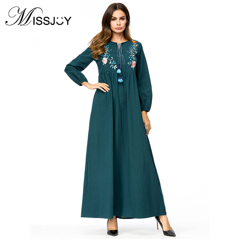 MISSJOY muslim pryrr beads Dress Middle East turkish Ropa Dubai abaya kaftan  Embroidery Arab Women costume 3a5c85821eb7