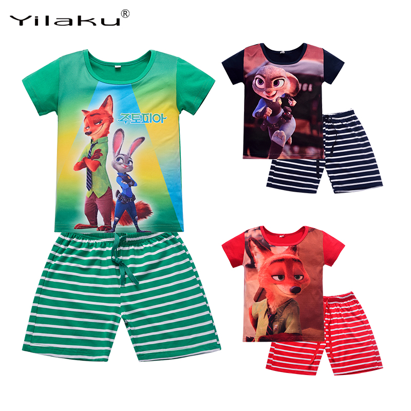 Yilaku Summer Kids Clothes Set Boys Girls Cartoon Clothing Sets Children Short Sleeve T-shirt+Striped Pants Sport Suits CF412 new plane boys clothing set cartoon dusty plane casual kids clothing sets for boys summer t shirt pants children clothing set