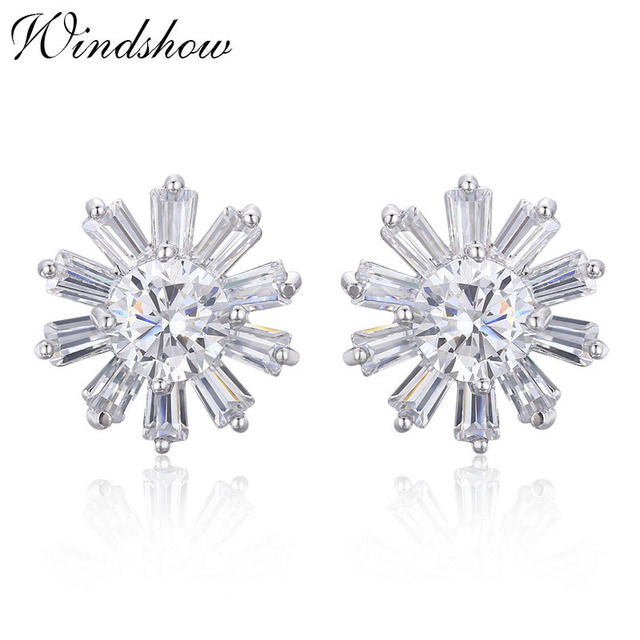 ea498d71ab324 US $2.45 51% OFF|Cute Daisy Flower Paved White CZ Zircon Stud Earrings for  Women White Gold Color Jewelry Aros boucle d'oreille Femme Aros Aretes-in  ...