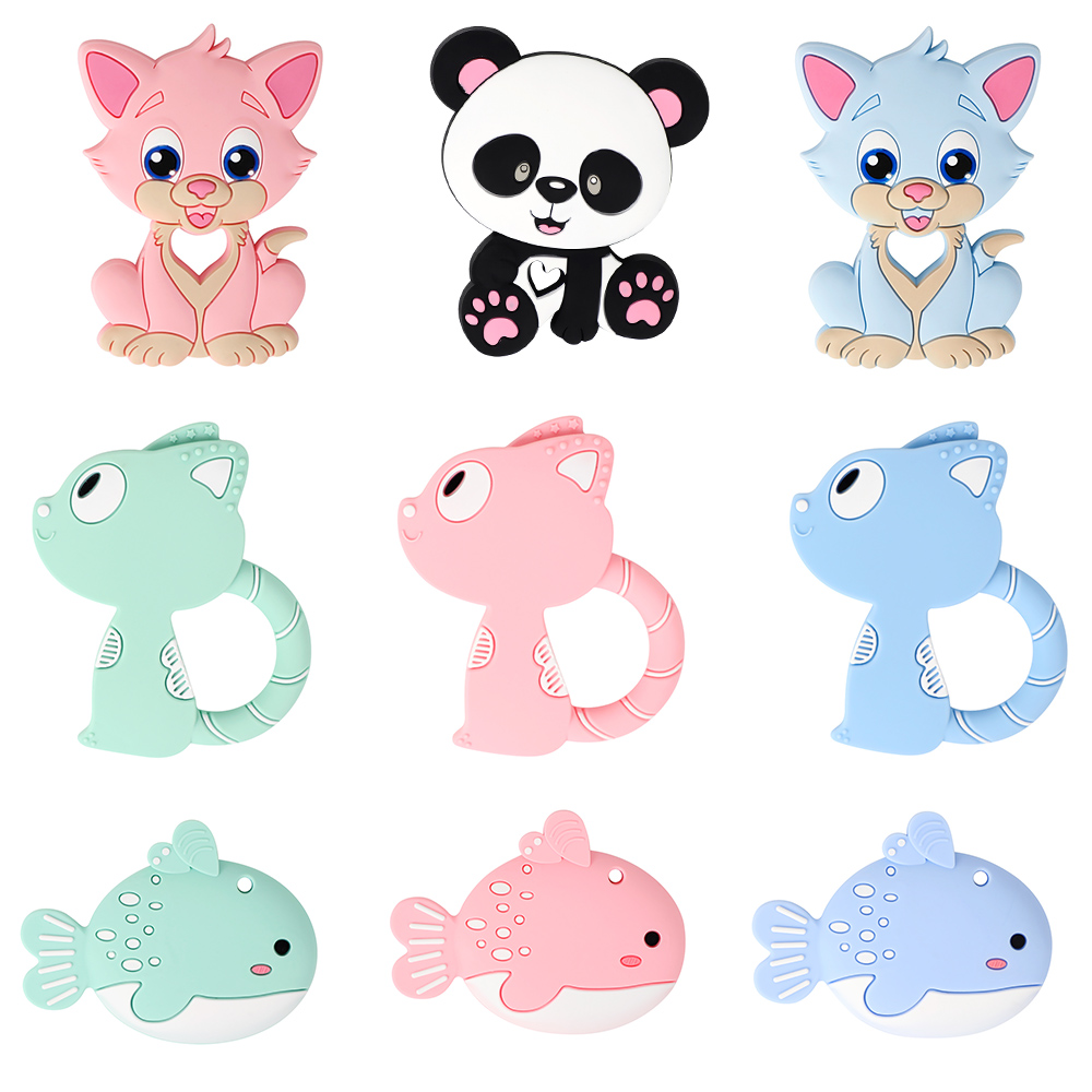 MCGMITT 1pc Baby Silicone Teether Food Grade Silicone Cartoon Necklace Pendant BPA Free Infant Chew Tiny Rod DIY Teething Toy