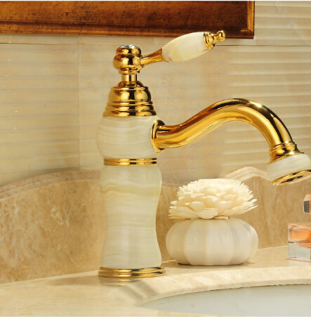 Free Shipping New Deck mounted brass and Jade faucet Bathroom Basin faucet Mixer Tap Gold Sink Faucet Bath Faucet pastoralism and agriculture pennar basin india