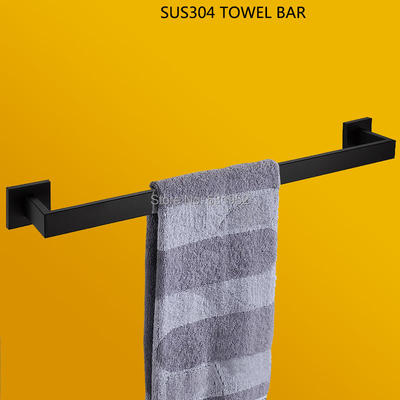 Hot Sale Matte Black Bathroom Single Towel Bar 304 Stainless Steel Wall Mount Towel Rail Towel Holder Fashion Design Free Ship набор тарелок мелких 6 шт 25см форма сабина 0158 фарфор leander 655471