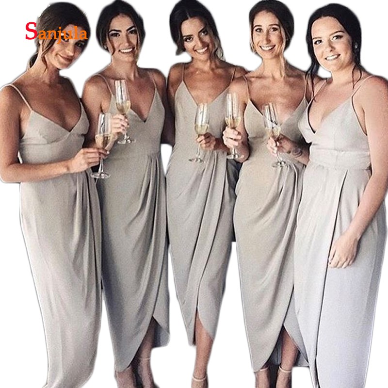 Spaghetti Straps Sheath Chiffon   Bridesmaid     Dresses   Long Sweetheart Ankle Length Simple Maid of Honor   Dresses   vestido dama D362