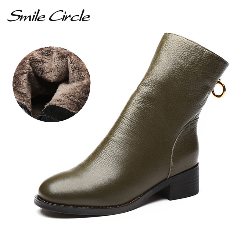 Smile Circle Genuine Leather Ankle Boots Women Round Toe Short Shoes Botas Fashion Waterproof Warm Plush Winter High heel Boots women genuine leather spring autumn ankle boots short plush inside for winter short boots fashion round toe boots 6
