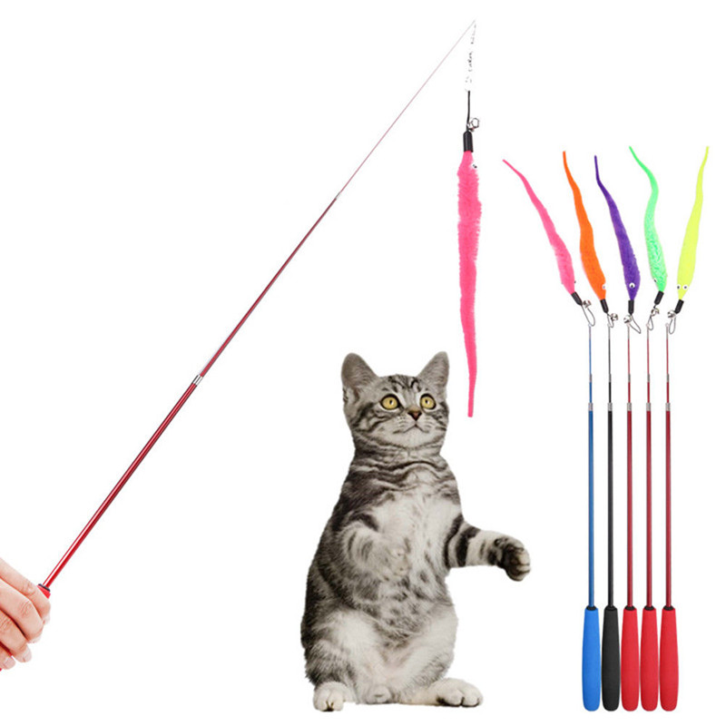 5pcs/set Kitten Cat Teaser Wand Rod Chase Toys Replacement Refill Plush Worms Pet Interactive Training Toys Random Color QDD9241 ...