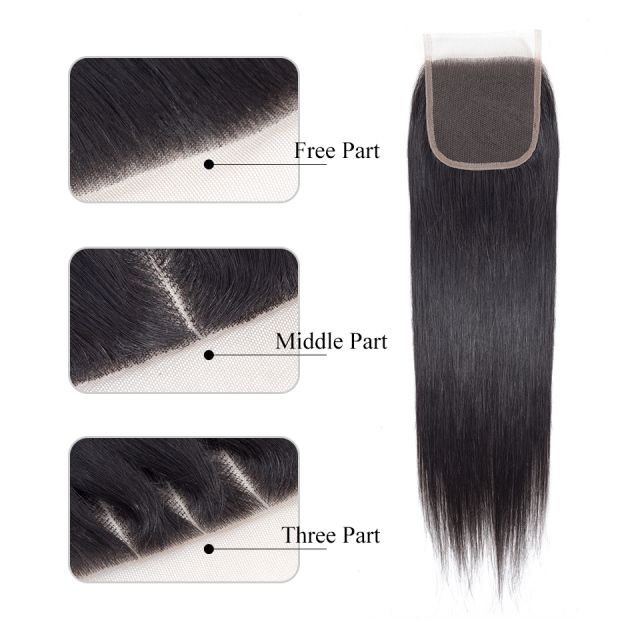 Brazilian Straight 4 x 4 Lace Closure Human Hair Free/Middle/Three Part