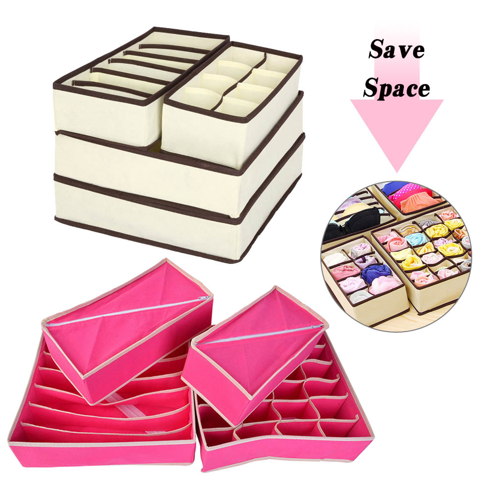 Home Storage Non-woven Scarfs Socks Bra Organizer Storage Box Drawer Closet Organizers Boxes For Underwear Bra(China)