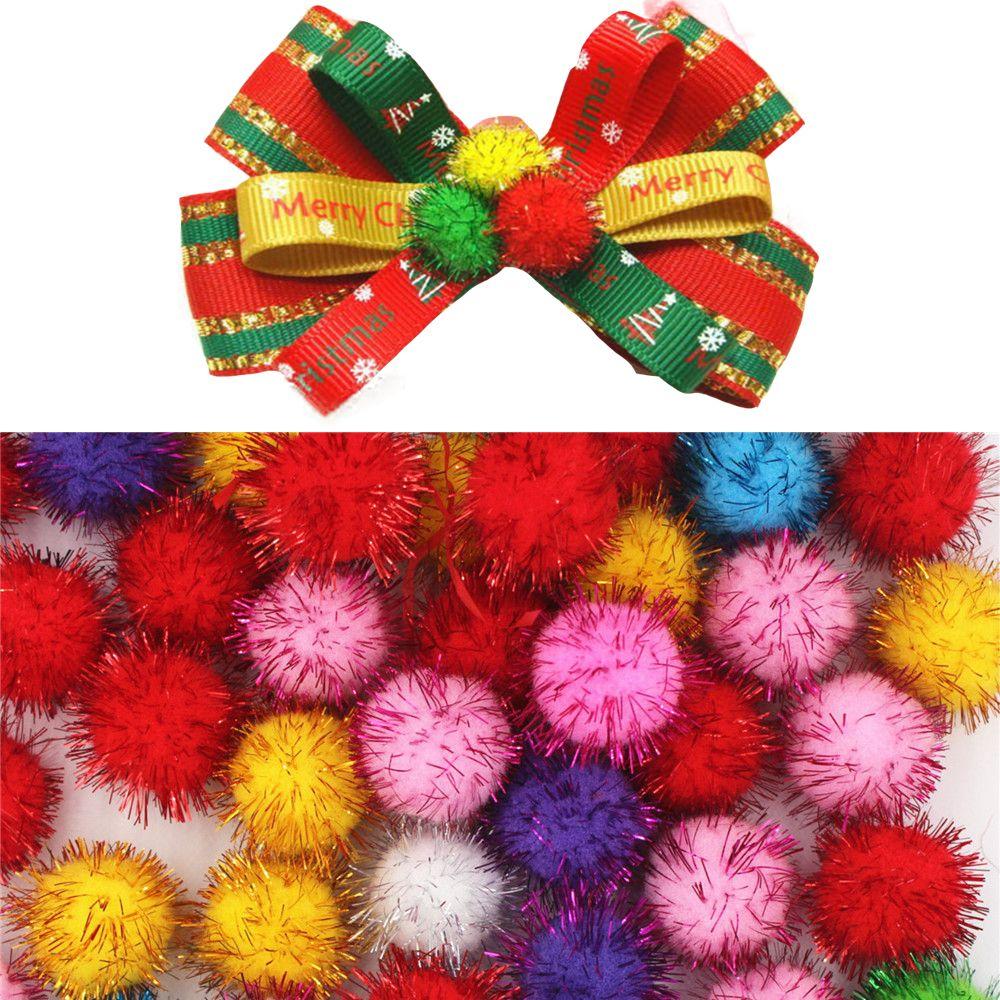 100Pcs/Lot Gold Thread Fluffy 10mm Multi Option Pompoms Soft Pom Poms balls DIY Wedding Party Birthday Decoration Accessories