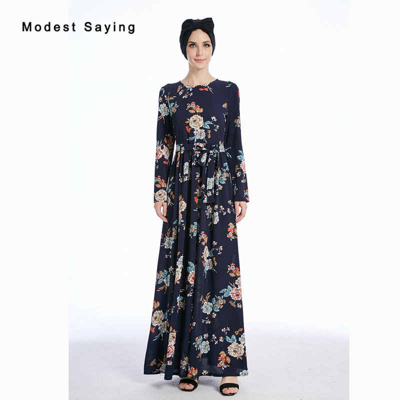 f052790f566 Real Navy Blue Muslim Floral Print Evening Dresses 2018 Long Sleeves Evening  Gown Ankle-Length