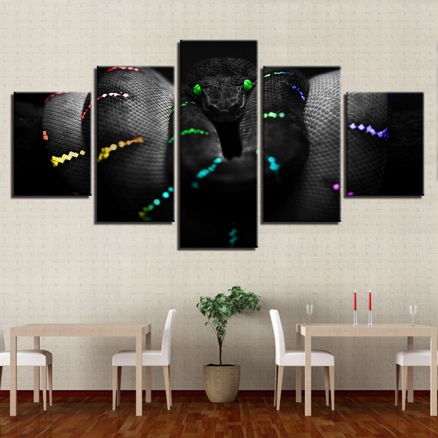 Canvas Pictures Wall Art Prints Posters 5 Pieces Beautiful Glowing  Dangerous Creep Animal Color Snake Paintings