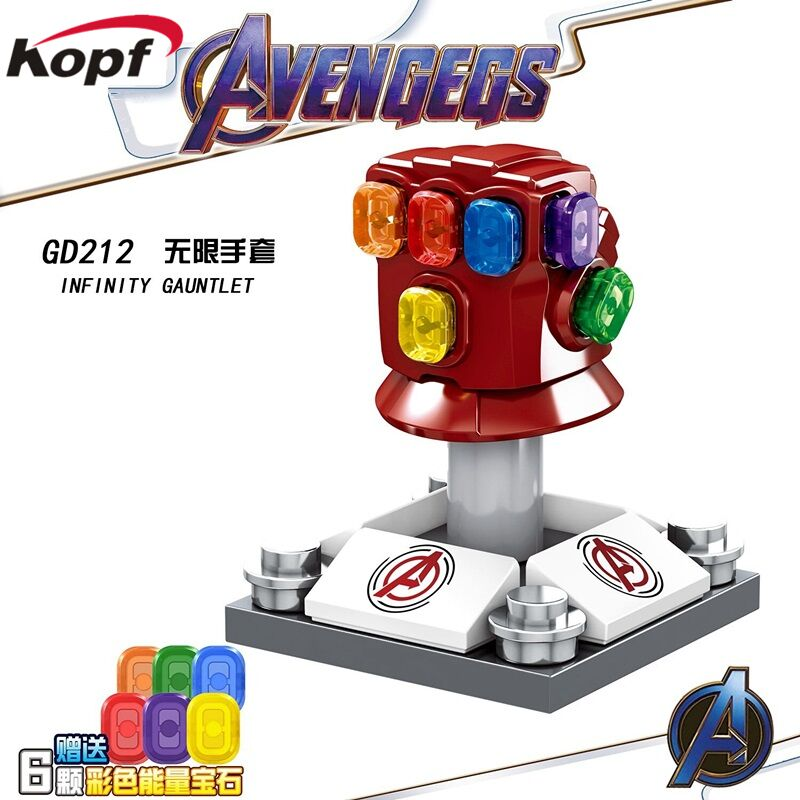 Single Sale Building Blocks Avengers Chromed Infinity Gauntlet With 6Pcs Power Stones Figures Learning Toys For Children GD212
