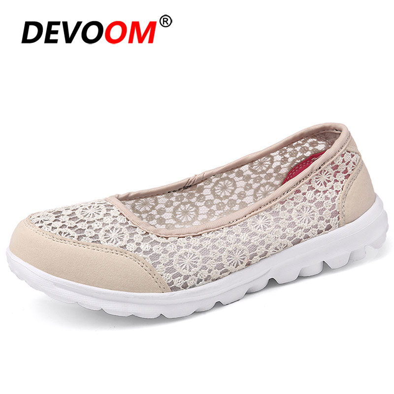 Breath Woman Flat Shoes 2019 Spring Summer Light Lady Shoes Lace <font><b>Womens</b></font> Flats Ballerina Boat Shoes <font><b>Women</b></font> Designer Shoes <font><b>Women</b></font> 42 image