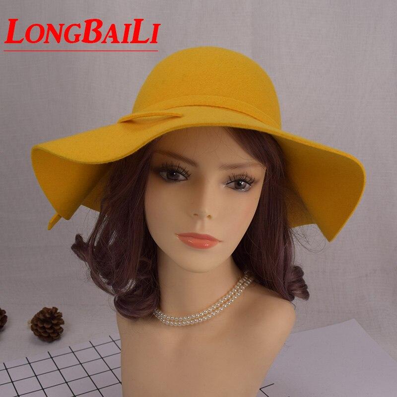 Musim Dingin Besar Brim Wol Merasa Topi untuk Wanita Chapeu Feminino Floppy  Sun Pantai Topi Wanita Gratis Pengiriman SDDW030 447ec71913