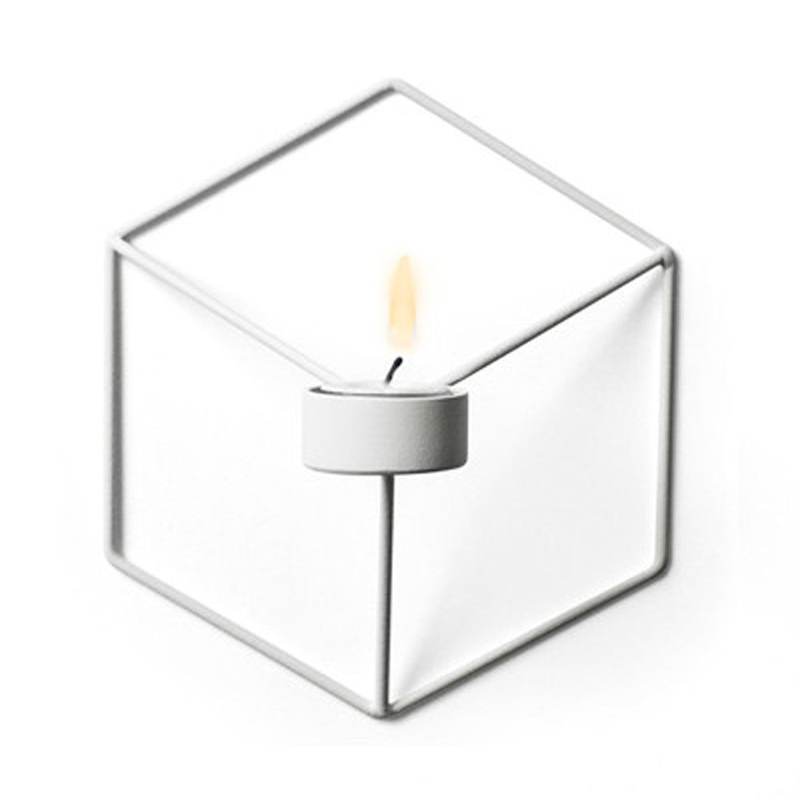 Visual Touch Nordic Style 3D Geometric Candlestick Metal Wall Candle Holder Sconce Matching Small Tealight Home Ornaments