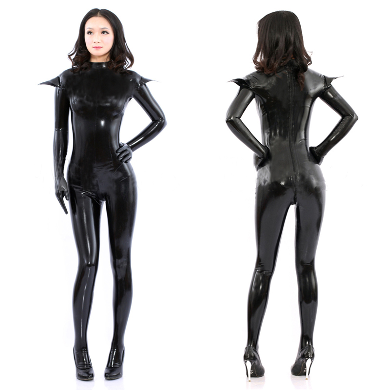 58856b3a1f Plus Size Sexy Cat Woman Costume Women Black PU Leather Catsuit Full Cover  Stretchable Jumpsuit Halloween