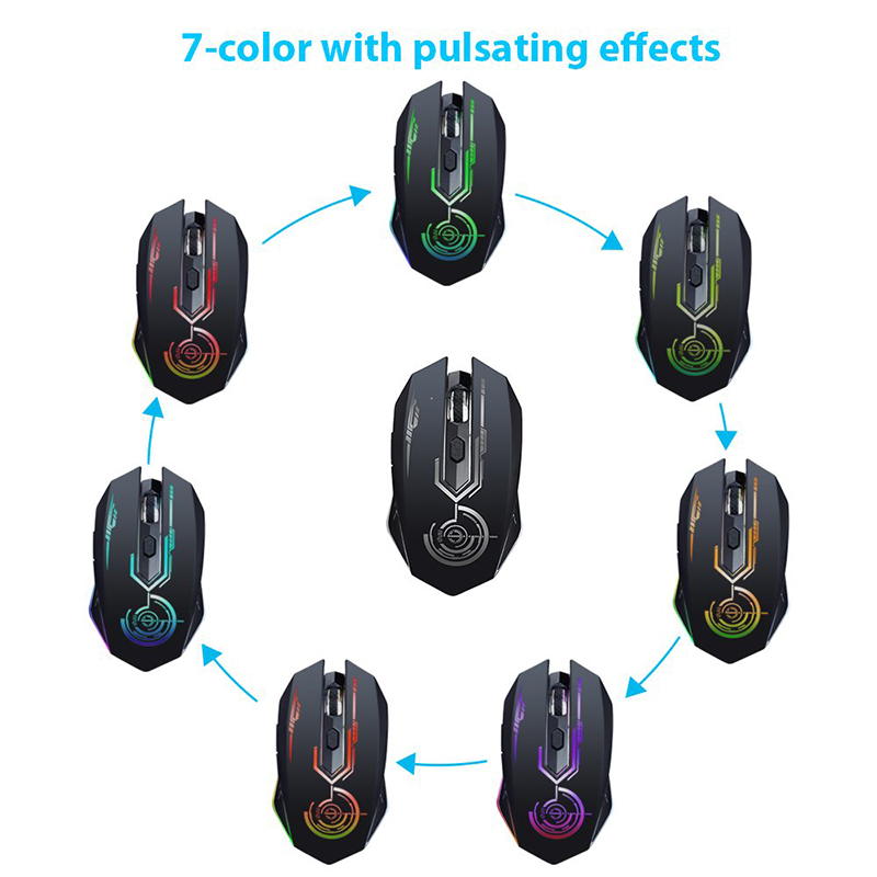 Wireless Gaming Mouse Up to 7200 DPI UHURU USB Rechargeable Mouse with 6 Buttons 7 Changeable LED Color Ergonomic Programmable MMO RPG for PC Computer Laptop Gaming Players