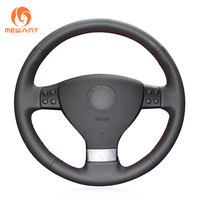 Black Leather Steering Wheel Cover For Volkswagen Golf 5 Mk5 Sagitar Magotan VW Passat B6