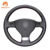 Black Leather Steering Wheel Cover For Volkswagen Golf 5 Mk5 Sagitar Magotan VW Passat B6