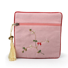 11.5x11.5cm Flower Embroidered Zipper Jewelry Pouches Square Cotton Linen GIfts Bags With Tassel Decor