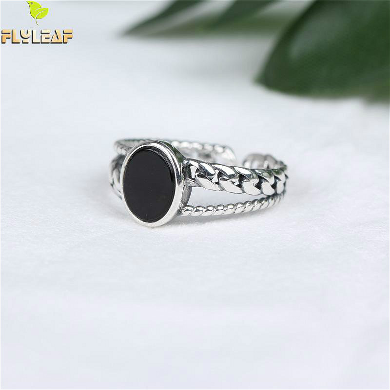 Flyleaf 925 Sterling Silver Rings For Women Personality Bblack Agate Chain Femme Fashion Fine Jewelry Simple Open Ring VintageFlyleaf 925 Sterling Silver Rings For Women Personality Bblack Agate Chain Femme Fashion Fine Jewelry Simple Open Ring Vintage