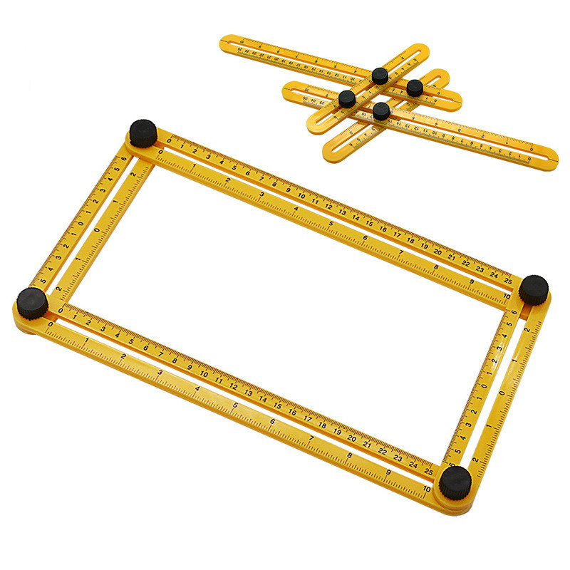 2020 New Real Four-fold Ruler Practical Plastic Metric Scale Multifunctional Measuring Angle Durablity Flexibility Student Math