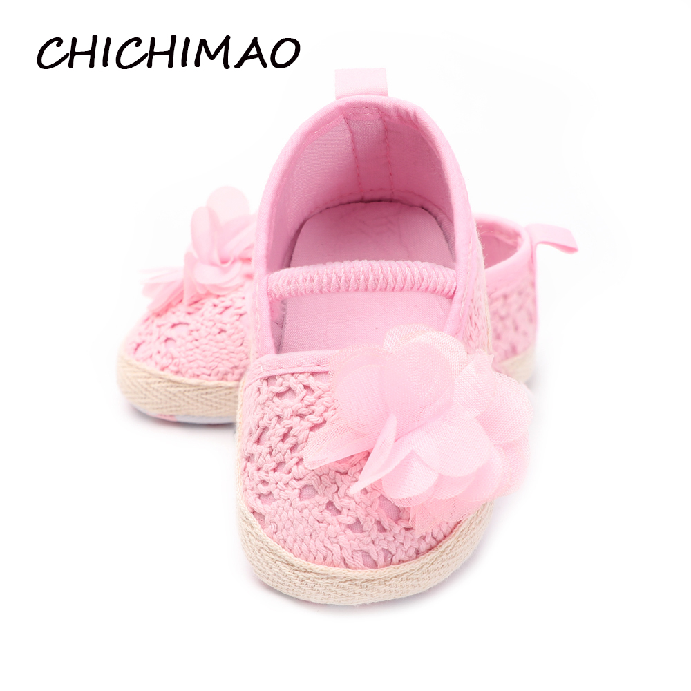 Big Flower Shoes For Girls Baby Newborn Footwear Pinkwhite Knitted