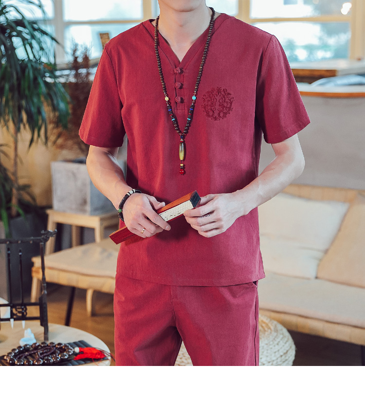 Men Chinese Style Summer Linen Set Spring Suit Clothes Tracksuits Male Sweatshirts Tshirt Track Suits Trousers Plus Size Sets
