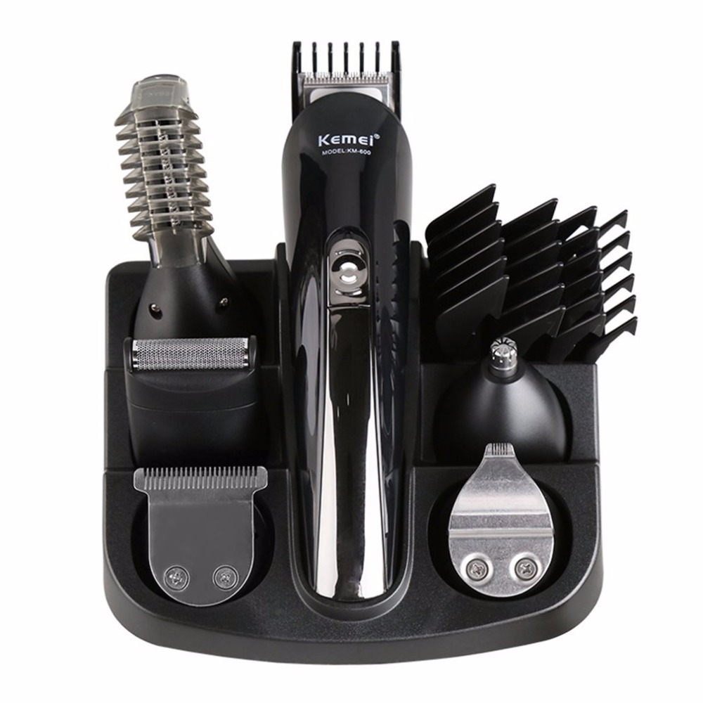 Kemei 6 in 1 Rechargeable Hair Trimmer Titanium Hair Clipper Electric Shaver Beard Trimmer Men Hair Care Styling Tools KM-600 kemei km 608 mens trimmer hair clipper trimmer professional hair clippers styling tools for salon