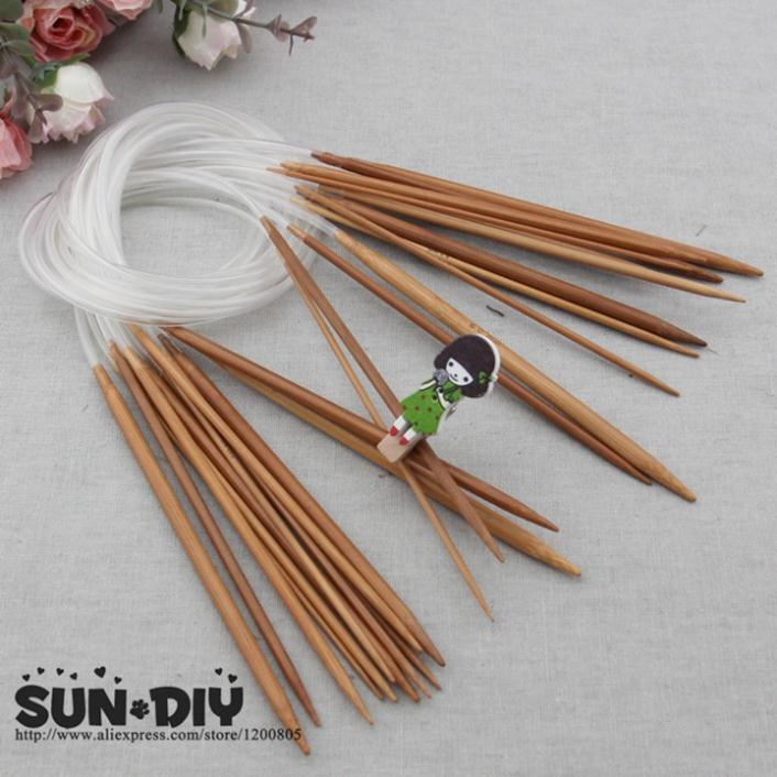 Free shipping Bamboo Circular knitting needles 80cm 18 pcs 2.0-10.0mm for DIY crafts knitting Needlework image
