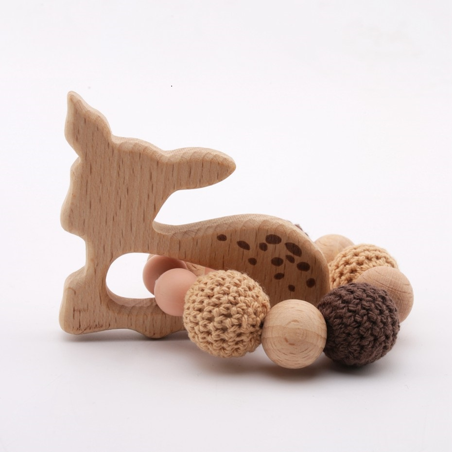 1pc Wooden Teether Aniaml Sika Deer DIY Crafts Baby Bracelet Rattles Beech Wood Rodent Crochet Beads Gifts For Kids Products Toy